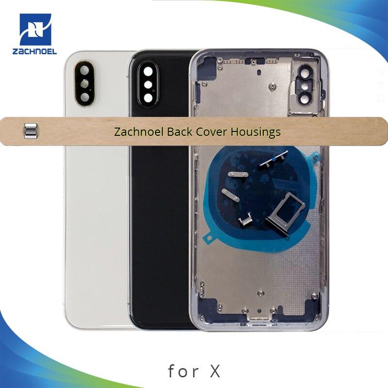 Boîtier arrière pour IPhone X 10 Ten cadre moyen châssis châssis batterie arrière porte couvercle arrière corps noir or blanc pièces de rechange