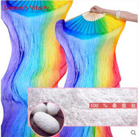 2017 High Selling Handmade Women Quality Silk Belly Dance Fan Dance 100 Real Silk Veils Rainbow