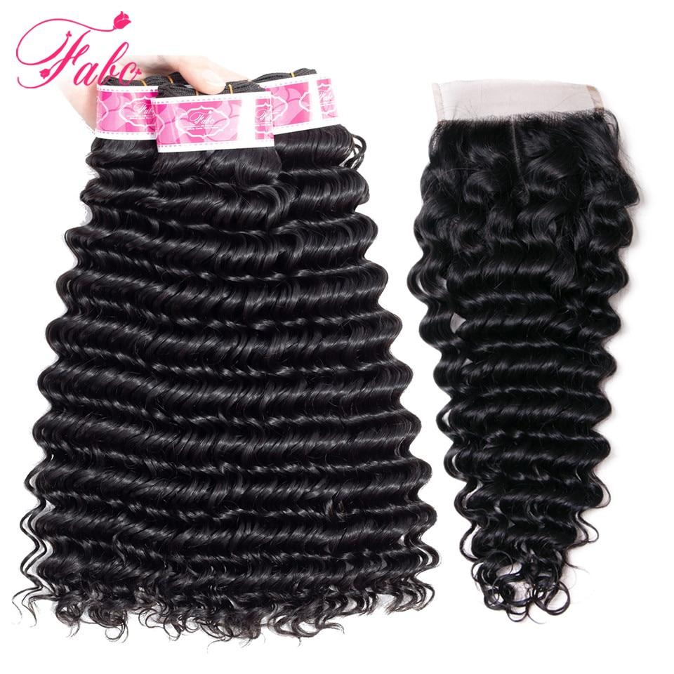 FABC Hair Indian Remy Hair Bundles With Closure 4 4 130 Density Deep Wave 3 4
