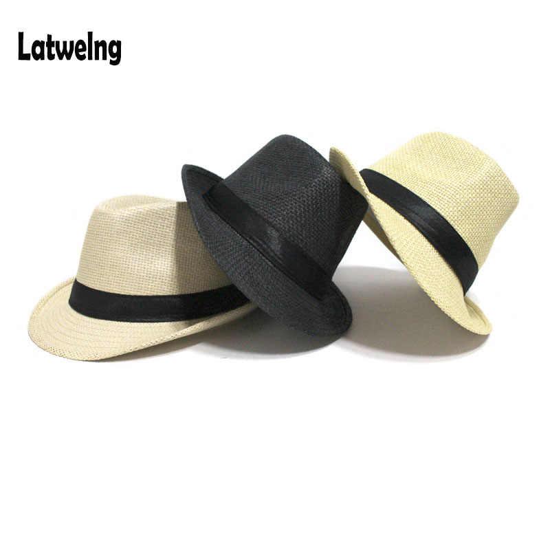 8fe97eec Wholesale Women Men Straw Sun Hats Summer Panama Beach Hats For Kids 54cm Straw  Hat Tea