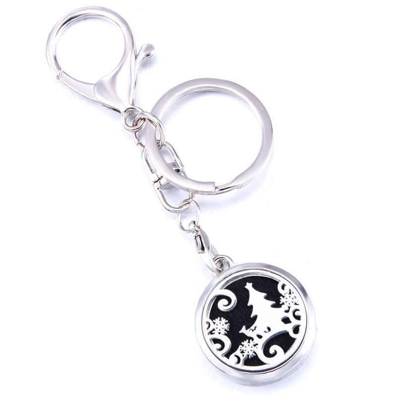 Christmas Tree Aroma Keychain Keyring Open Locket Stainless Steel Perfume Aromatherapy Essential Oil Diffuser Keychain Jewelry