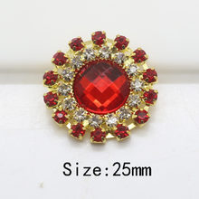 Top quality 10pc 25MM Round buttons rhinestone button tray cap setting ruby  embelishment flatback gold button wedding decoration 68cc1d44e2dc