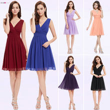 Purple Cocktail Dresses Ever-Pretty 2019 Elegant Sleeveless Short Bridesmaid Gowns Chiffon V-neck Short Party Robe De cocktail(China)