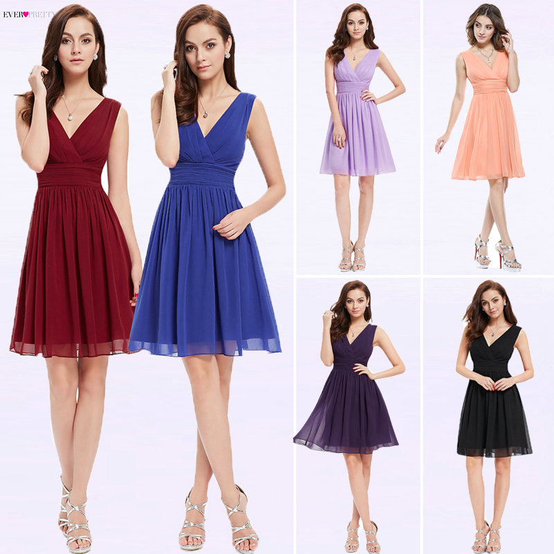 Purple Cocktail Dresses Ever Pretty 2019 Elegant Sleeveless Short Bridesmaid Gowns Chiffon V neck Short Party