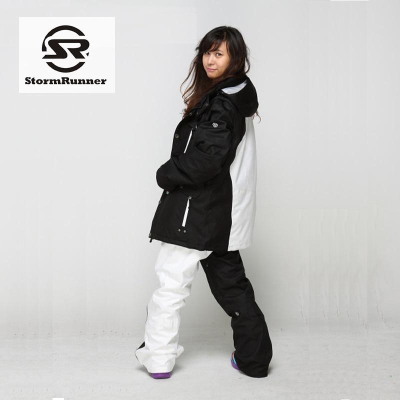 StormRunner Guarantee Authentic! Women Ski Suits Jacket+Pants Set Water-Proof Thermal Cottom- Padded Snowboard Women 's Ski Sets