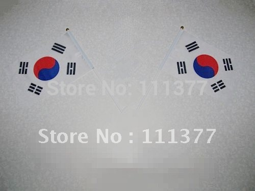 Small National flags South Korean Flags with pole 14*21 cm Used in Office, Desk Top, Festival, National Day
