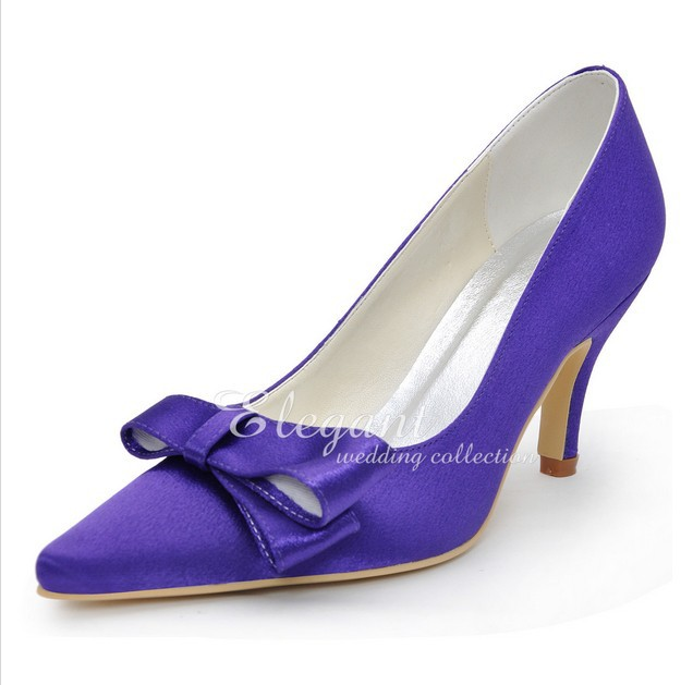 Elegant Purple Color Wedding Dress Shoes Satin Bridal Dress Shoes Pointed Toe Party Lady Woman Prom Dress Shoes