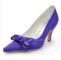 Popular Purple Color Wedding Dress Shoes Elegant Satin Bridal Dress Shoes Pointed Toe Party Lady Woman Prom Dress Shoes