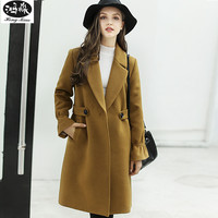 2017 lady Coat Autumn Winter Women Lapel Covered Button Long Sleeve Outcoat Female Sashes Solid Color Wool elegant clothing