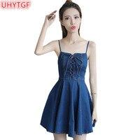 UHYTGF Summer Denim Dresses Women Blue Dress Square Collar Sleeveless Jeans Dresses Bandage Dress Female Strapless Mini Dress78