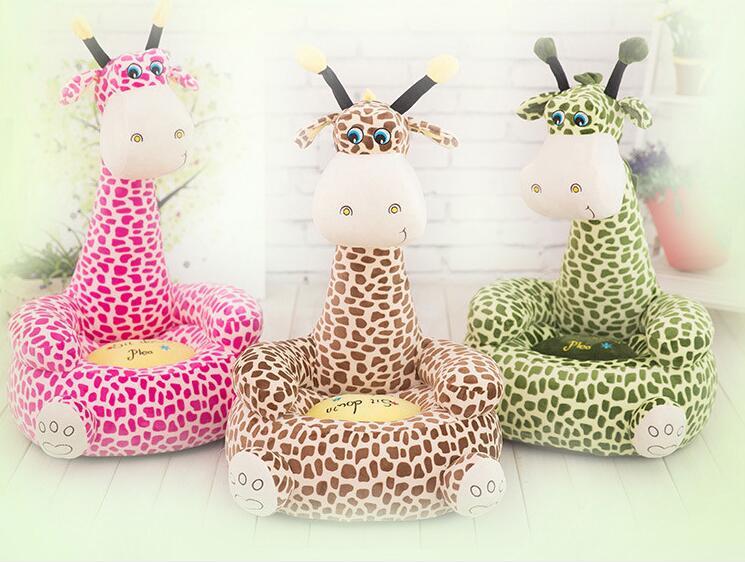 2018 bébé siège pouf dessin animé Kawaii mignon girafe enfants canapé pour enfants lit de couchage bébé nid bouffée chaise pouf sac en peluche jouets