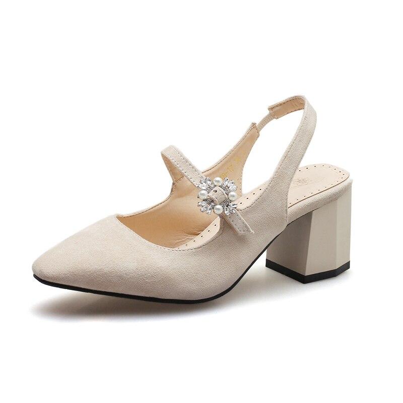 Peu Pompes Talon Femmes Pointu Sandales Dames D'été Slingback Taille Cristal Profonde Chaussures Douce Black Grande pink Carré Janes beige Mary Bout 7xwIqZ0IY