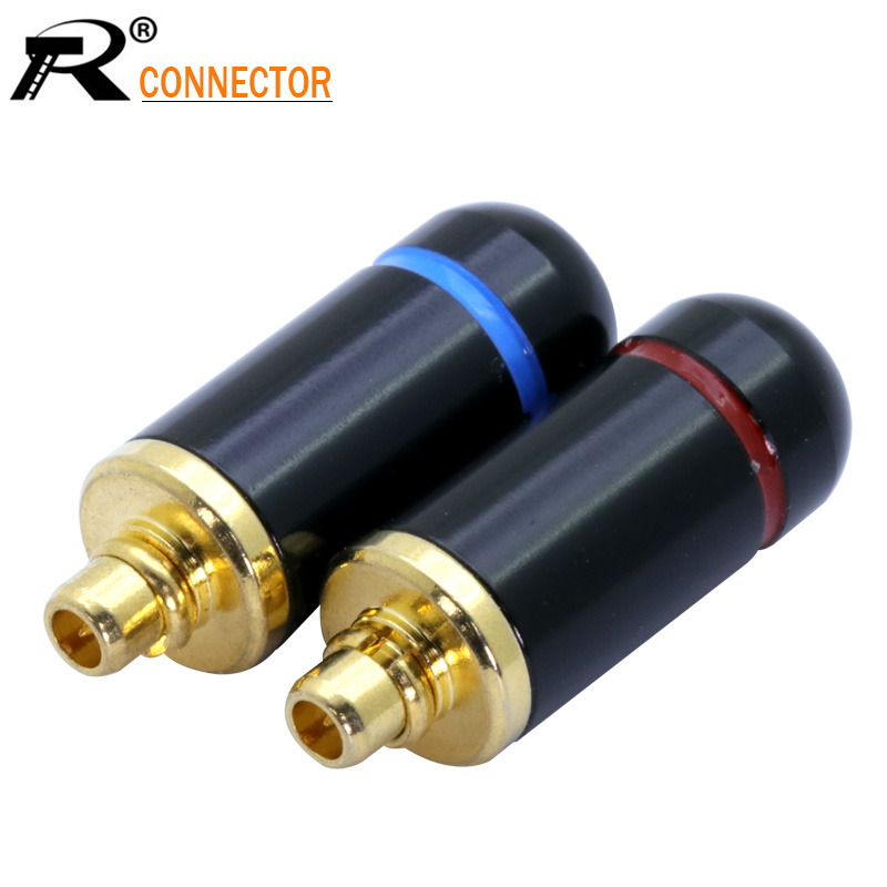 2Pcs/1Pair Enthusiasts Jack MMCX Black/Silver Earphone Pin Plug For Shure ED5 SE535 Gold Plated Connector