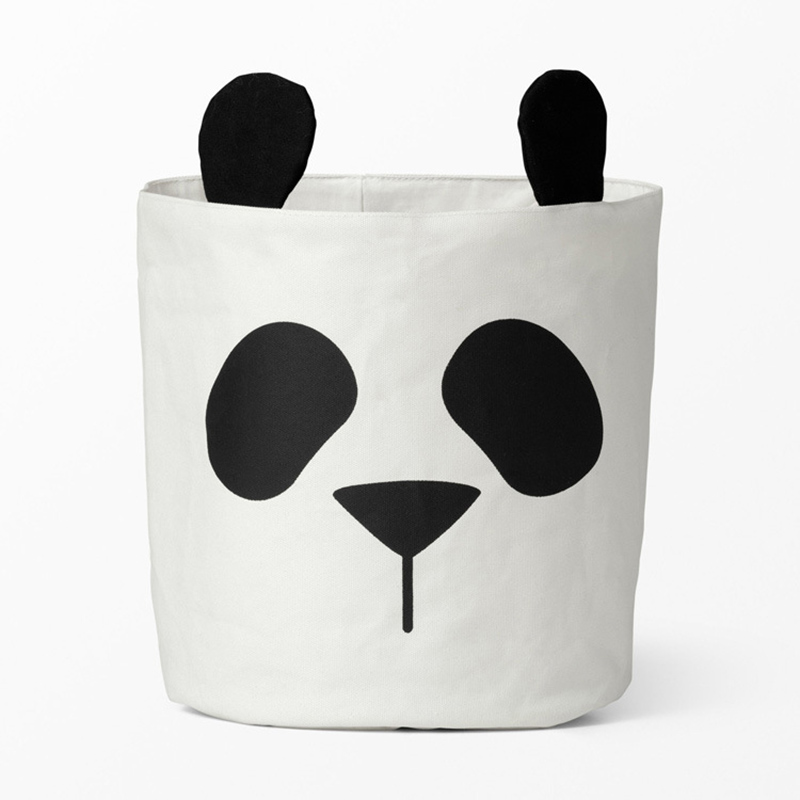 Cute Panda Canvas Storage Bag Children Room Organizer For Kid Toy Baby Clothes Laundry Basket Sundries Cosmetic Container Holder
