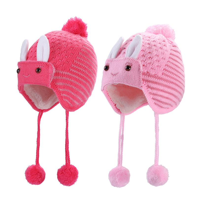 Mother & Kids Sweet-Tempered Children Winter Warm Knitted Hat Beanie Cute Rabbit Decor Hair Ball Ear Cap Lxx9 Price Remains Stable Accessories