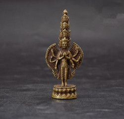 Chinese pure brass Thousand-Hand Kwan-yin small Buddha statue