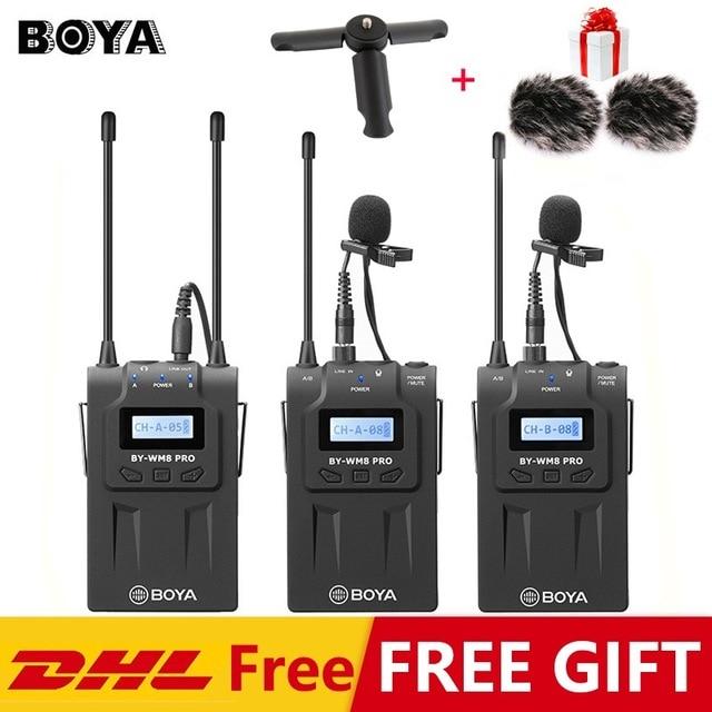 Microphone Lavalier BOYA BY-WM6/BY-WM5/BY-WM8 Pro UHF sans fil Microphone récepteur émetteur pour ENG EFP DV DSLR