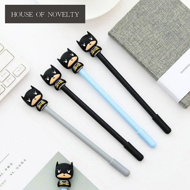 Charming 3 Pcs/lot Novelty Super Hero Batman Gel Pen Ink Pen Promotional Gift  Stationery School