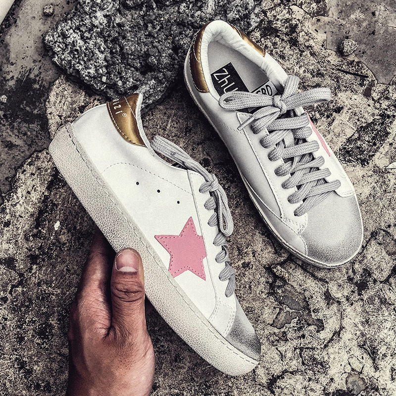 Casual shoes women autumn 2018 white sneakers Lace-Up platform sneaker fashion star sneakers vulcanized shoes ulzzang shoes smile circle spring autumn women shoes casual sneakers for women fashion lace up flat platform shoes thick bottom sneakers