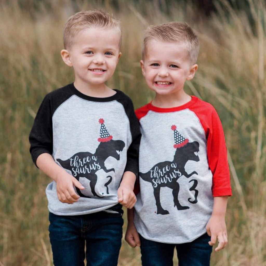 Футболка для мальчиков, детские футболки, одежда для маленьких мальчиков и девочек, футболка с динозавром на день рождения, футболки с героями мультфильмов, осенняя рубашка с героями мультфильмов