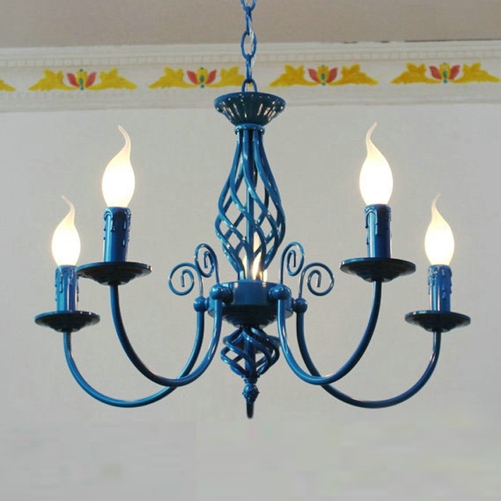 modern vintage 5 arms classical Iron chandelier blue candle light For Foyer living room bedroom dinning room indoor lighting