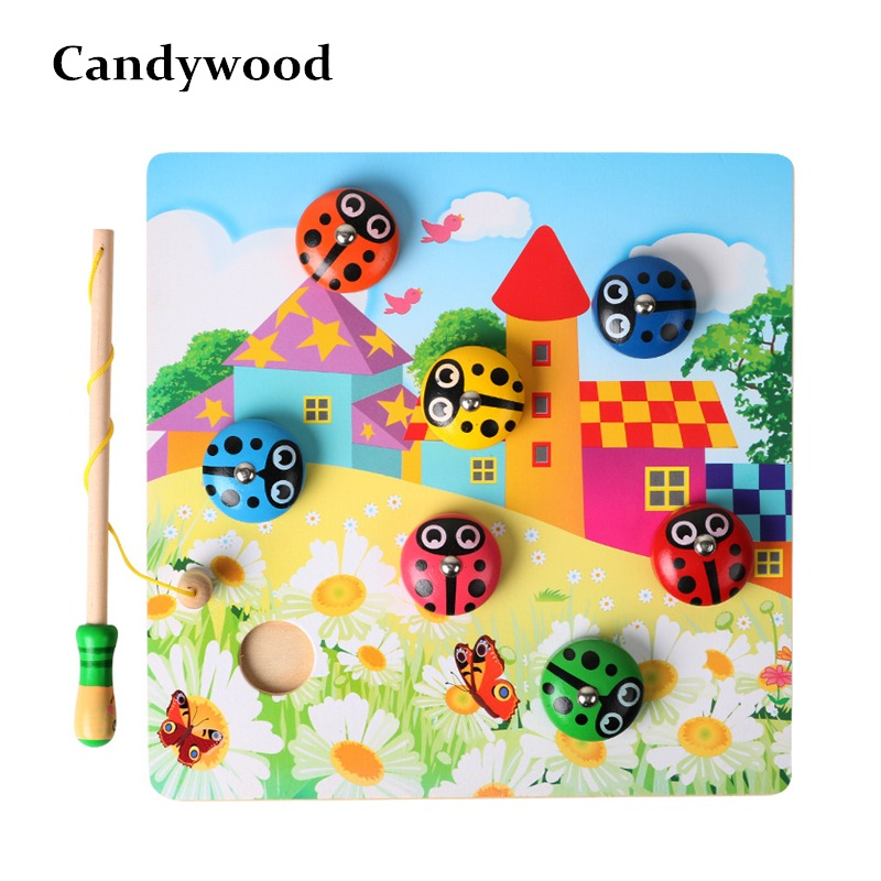 Toys & Hobbies Fish Toys Baby Early Educational Toys 10pcs Fish Wooden Magnetic Fishing Toy Set Fish Toy Sandbox For Children With Traditional Methods Fishing Toys