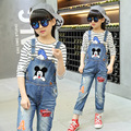 Girls Denim Overalls High Quality Spring & Autumn Kids Denim Jeans Fashion print Blue Girls Overalls New Style Children Clothing
