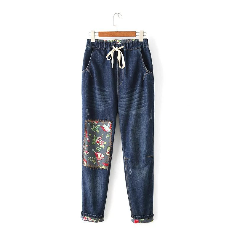 2017 Spring New Ladies High Waist BF Harajuku Jeans Women Fashion Individuality Floral Patch Denim Pants