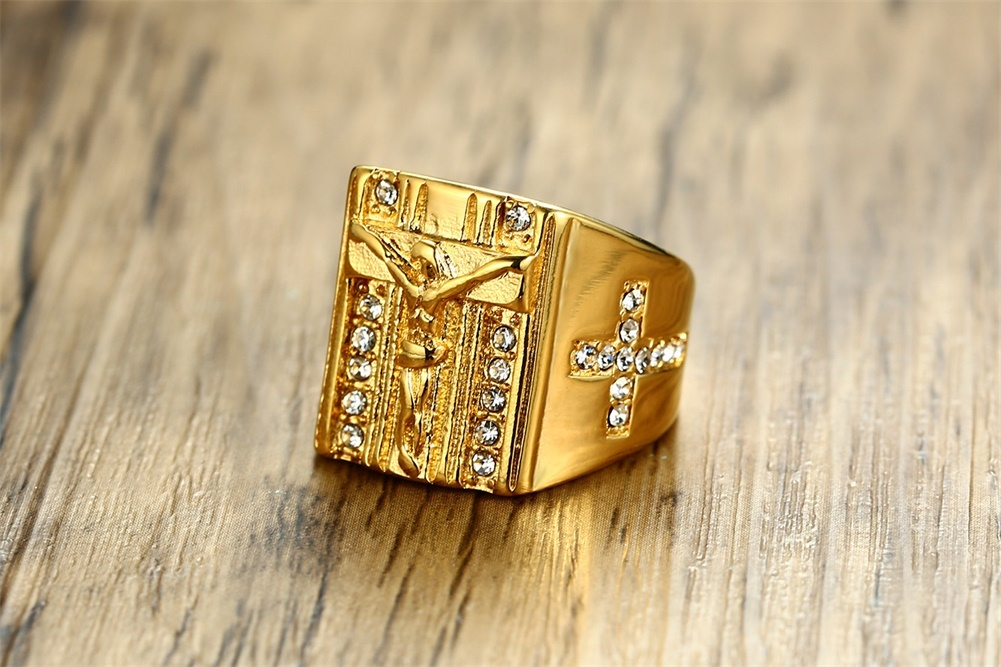 Topdudes.com - Jesus Cross White Cubic Zirconia Ring