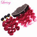 8A Mink Brazilian 1B 99J Burgundy Virgin Hair Body Wave with Frontal Ombre Brazilian Hair Burgundy Bundles with Lace Frontal