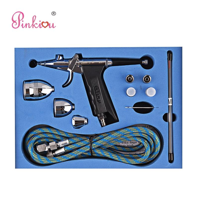Pinkiou Dual-action 0.2/0.3/0.5mm Needle Airbrush For Painting Cars Air Brush Spray Gun Aerograph Kit Akvagrim Tattoo For Body