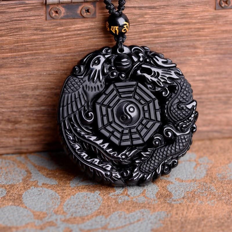 Prix pour Drop Shipping Noir Obsidienne Sculpture Dragon et Phoenix Collier Pendentif Obsidienne Chanceux Pendentifs