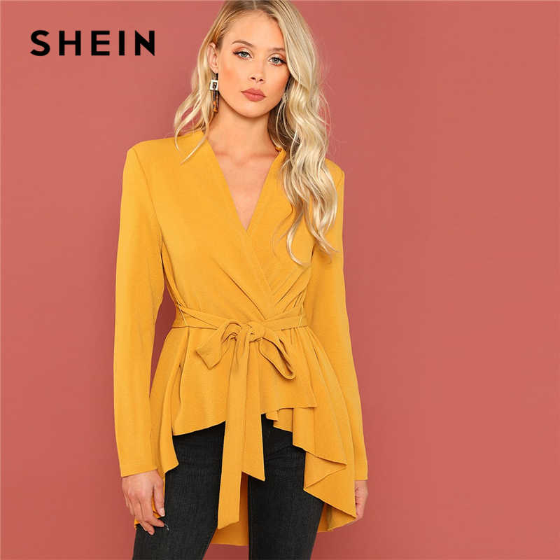 24448f73fa SHEIN Ginger Office Lady Elegant Asymmetrical Hem V neck Belted Solid Coat  2018 Autumn Workwear Fashion