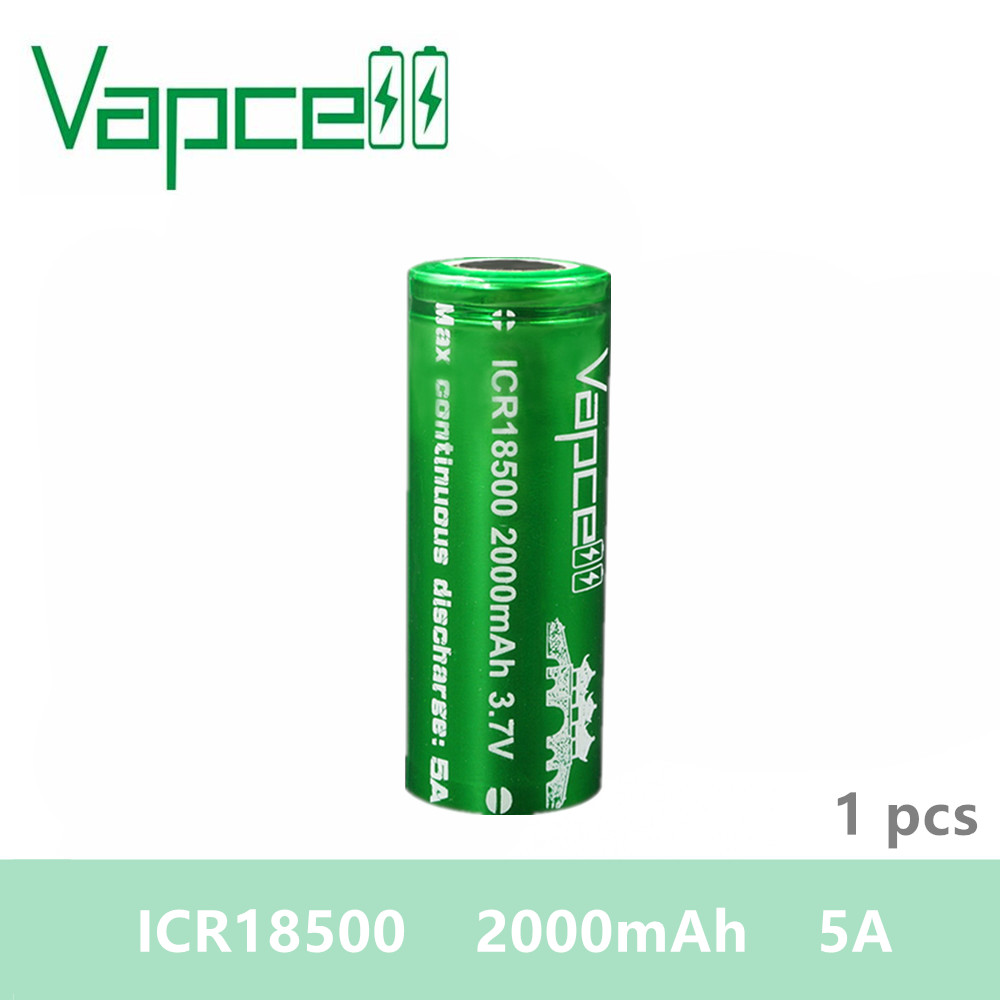Free shipping 1pcs VAPCELL <font><b>ICR</b></font> <font><b>18500</b></font> <font><b>battery</b></font> 2000mAh 5A 3.7V rechargeable <font><b>battery</b></font> electronic smoke E-CIG image