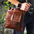 Cowhide! Man Bags Wax Oil Skin Men's Genuine Leather Shoulder Crossbody Bags Coffee Briefcase For Men Messenger Bag Portfolio