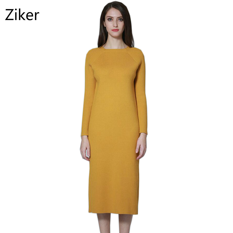 Winter Women Sweater Dresses Fashion Autumn Solid Slim Autumn Elasticity Knitted Dress Knee Length Warm Casual Knitting Dress 2016 women s clothing fashion in europe and the atmosphere bohemia elasticity knitted cultivate one s morality dress