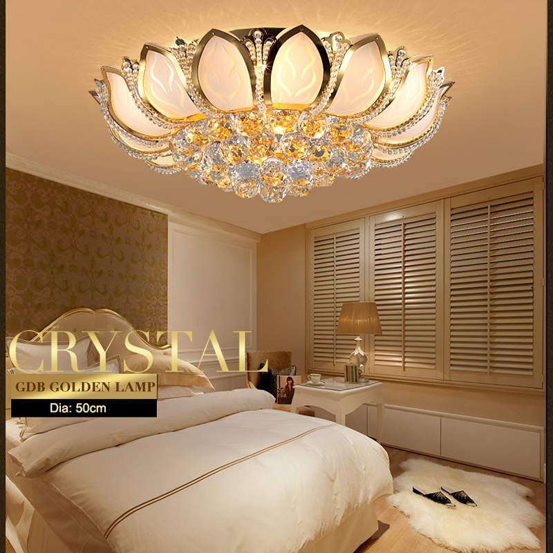 Modern Lotus Flower Crystal Ceiling Lamp Gold Ceiling