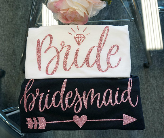 96 Fun Facts About Your Favorite Bridal Designers: Personalized Rose Gold Bridesmaid Wedding Bride Tees
