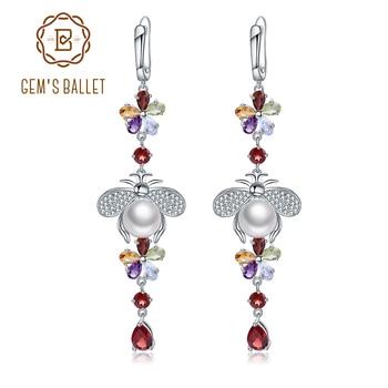 GEM'S BALLET Natural Flower Multicolor Gemstone Earrings 925 Sterling Silver Freshwater Pearl Vintage Drop Earrings For Women