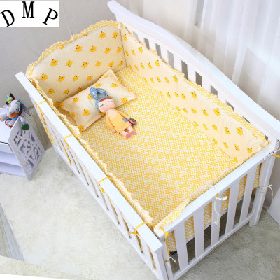 Promotion! 6PCS Cartoon High Quality Baby Crib Set Comfortable Baby Cot Bedding Set ,include(bumper+sheet+pillow Cover)