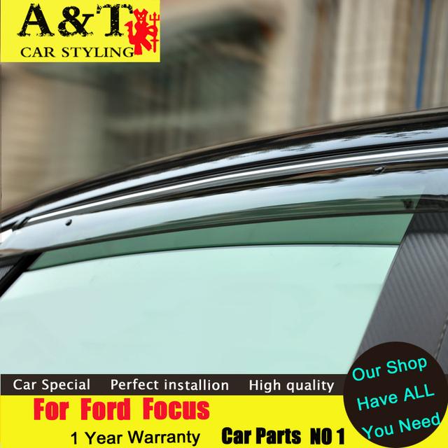 Car styling por Ford Focus protección contra la lluvia 2012-2015 por Ford Focus especial ceja equipo para la lluvia ajuste refugios coche que labra