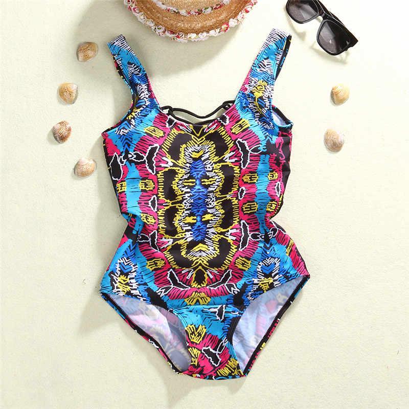 77f4dc3706d0a ... One Piece Swimsuit 2017 Sexy Swimwear Women Bathing Suit Swim Vintage  Beach Wear Boho Print Bandage ...