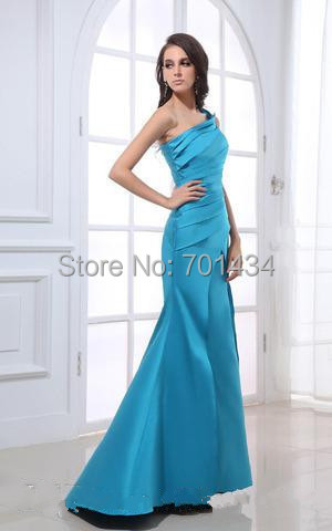 Deep sky blue bridesmaid dresses