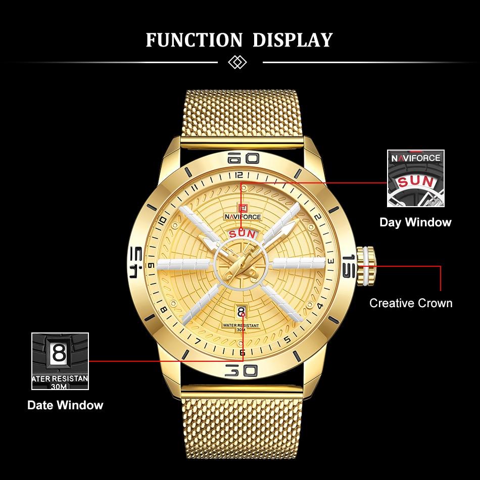 Mens Watches Top Brand Luxury NAVIFORCE Men 39 s Wristwatch Quartz Watch Analog 30M Waterproof Fashion Gold Clock Relogio Masculino in Quartz Watches from Watches