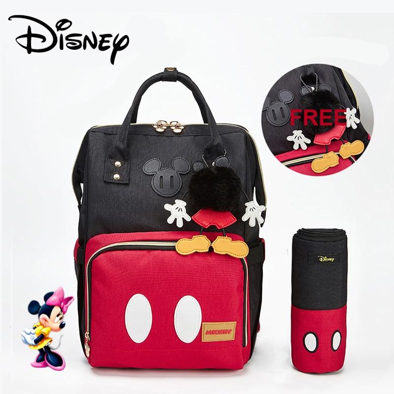 Disney Minnie Mickey Vermelho Clássico Sacos de Fraldas 2 pçs/set Múmia Maternidade Saco de Fraldas Mochila de Grande Capacidade Saco de Viagem Do Bebê 3D Boneca