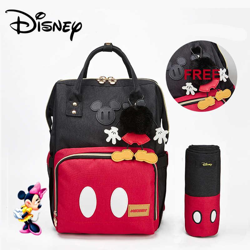 Disney minnie Mickey klasyczny czerwony torby na pieluchy 2 sztuk/zestaw mumia plecak dla matki torba na pieluchy duża pojemność dziecko torba podróży 3D lalki