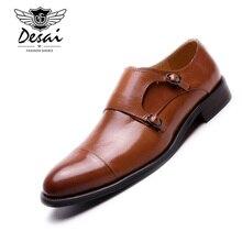 Desai Mens Monks Shoes Italian Handmade Calf Waxed Leather Dress Business Bullock Genuine Awesome