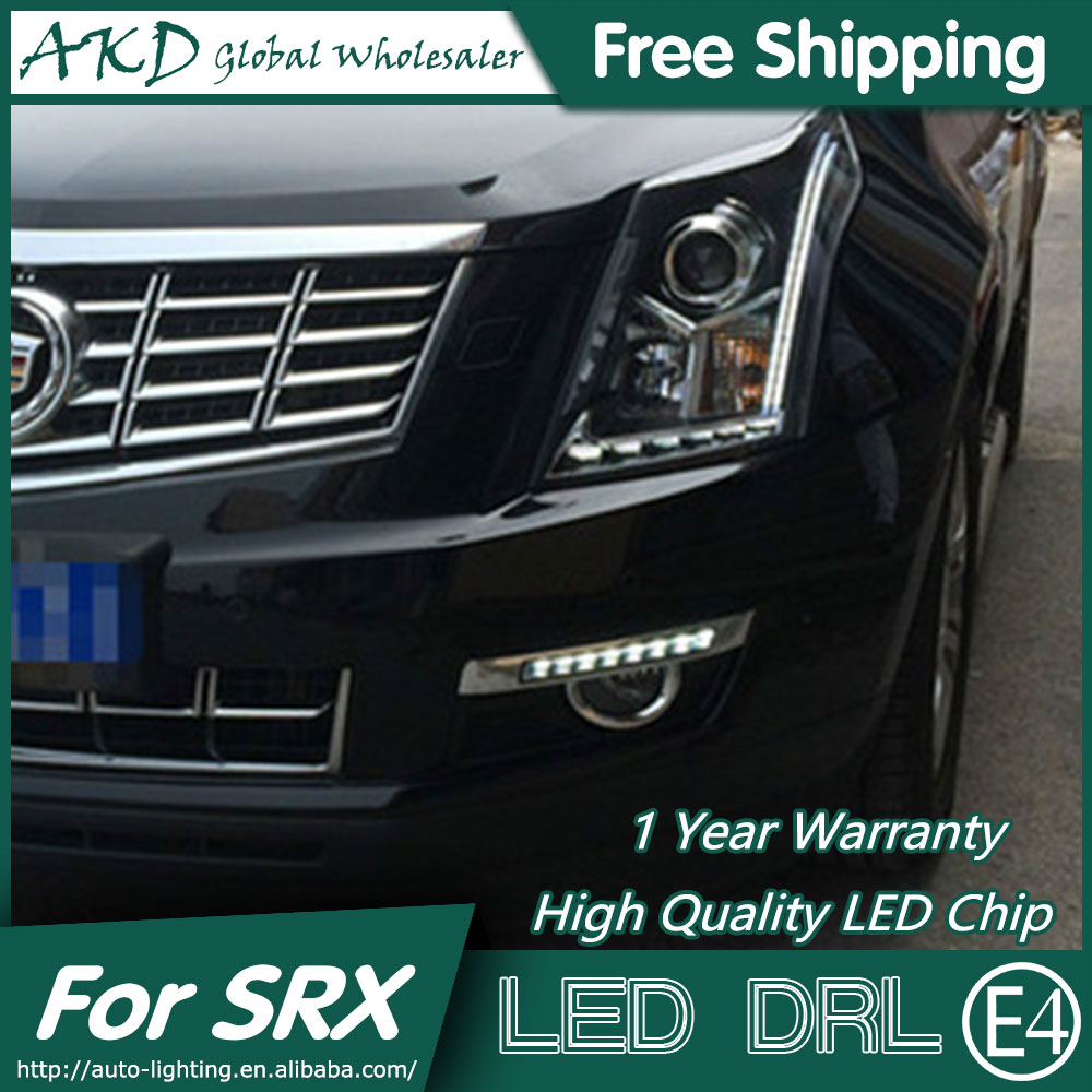 AKD Car Styling LED Fog Lamp for Cadillac SRX LED DRL 2010-2014 SRX Black Cover Running Light Fog Light Parking Accessories hot sale abs chromed front behind fog lamp cover 2pcs set car accessories for volkswagen vw tiguan 2010 2011 2012 2013