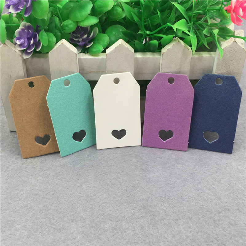 50Pcs Jewelry Gift Box Blank Price Hang Tags Kraft Paper Colorful DIY Box Bag Packing Labels Note Hang Tags With Small Heart