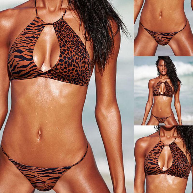 New Sexy Womens Gril Leopard Print Swimsuit Bikini Set Push up Padded Bra Swimwear